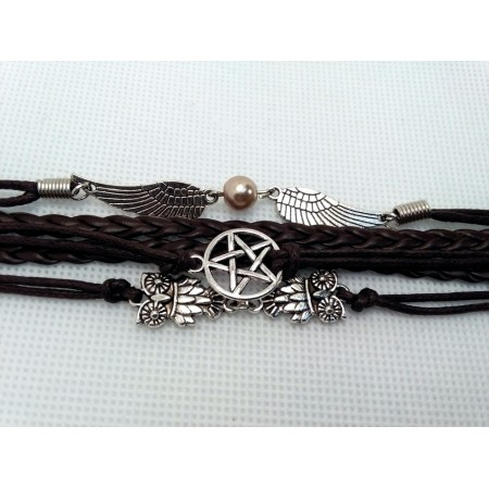 Leather pentagram bracelet