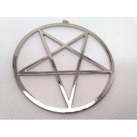 Inverted pentagram type 2 (Ø 8,5 cm!) (silver colored)