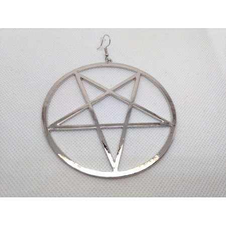 Inverted pentagram type 1 earring (Ø 8,5 cm!) (silver colored)