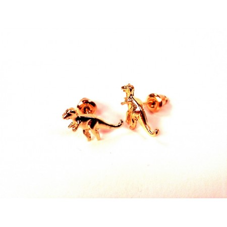 Dinosaur ear studs T-Rex (gold colored)