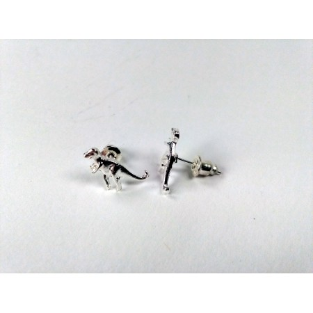 Dinosaur ear studs T-Rex (silver colored)