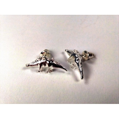 Dinosaur ear studs Stegosaurus (silver colored)