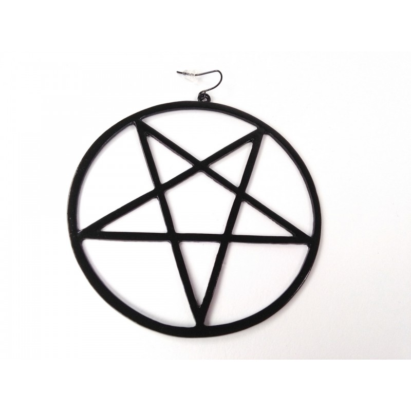Inverted pentagram earring type 1 (Ø 8,5 cm!) (black)