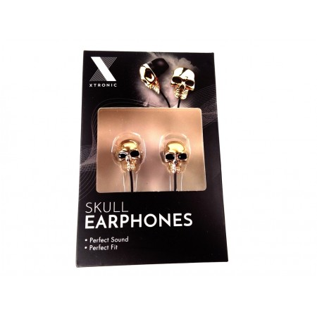 Skull earphones (gold colored)