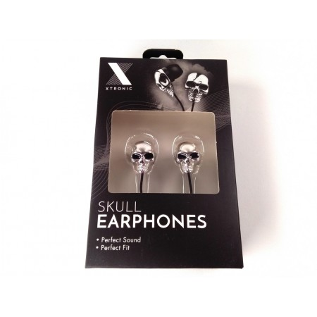 Skull earphones (silver colored)