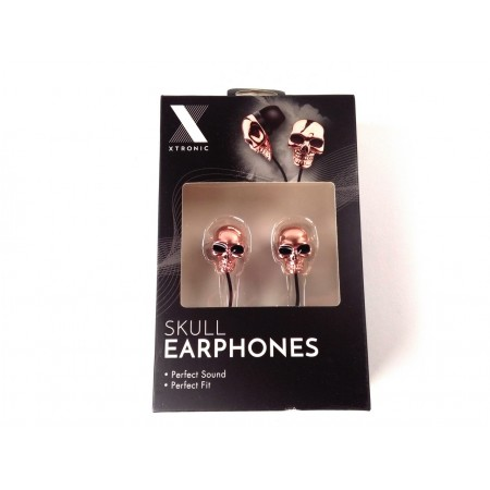 Skull earphones (copper colored)
